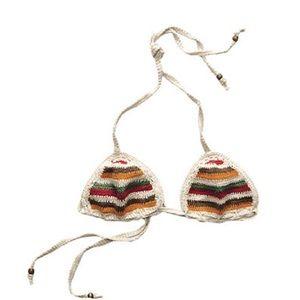 3/36 A&F NWOT Striped Crochet Triangle Bikini Top